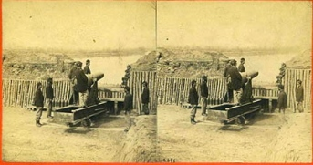 Battery Abbot was constructed after the Confederate flotilla successfully passed Fort Brady on the night of 23 January 1865. Fort Brady, it was learned, could not depress its guns sufficiently to command the near shore of the James River. This view shows the 100 pounder gun that Pvt. Hadsall & others of the 2nd PA. Heavy Artillery helped get into position.